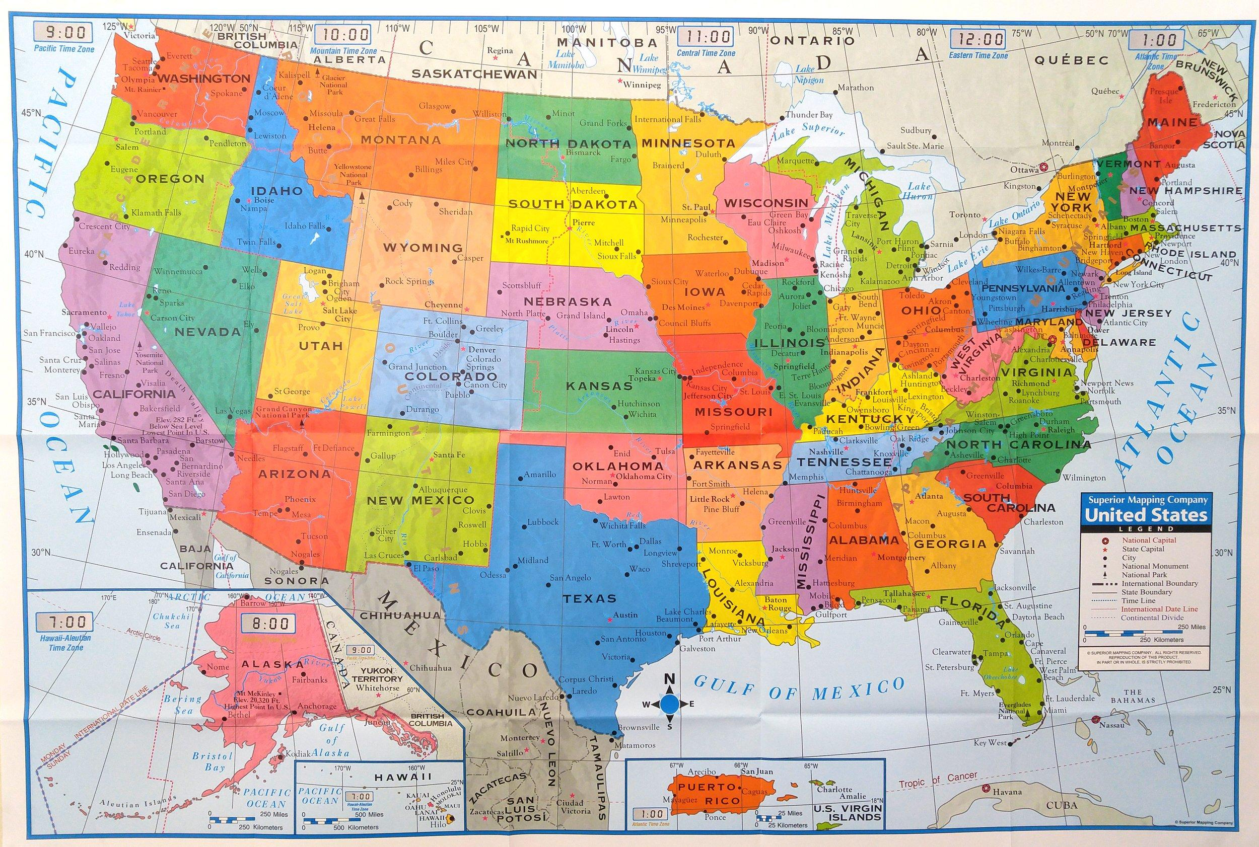 Details about Superior Mapping Company United States Poster Size Wall Map  40 x 28 with Cities
