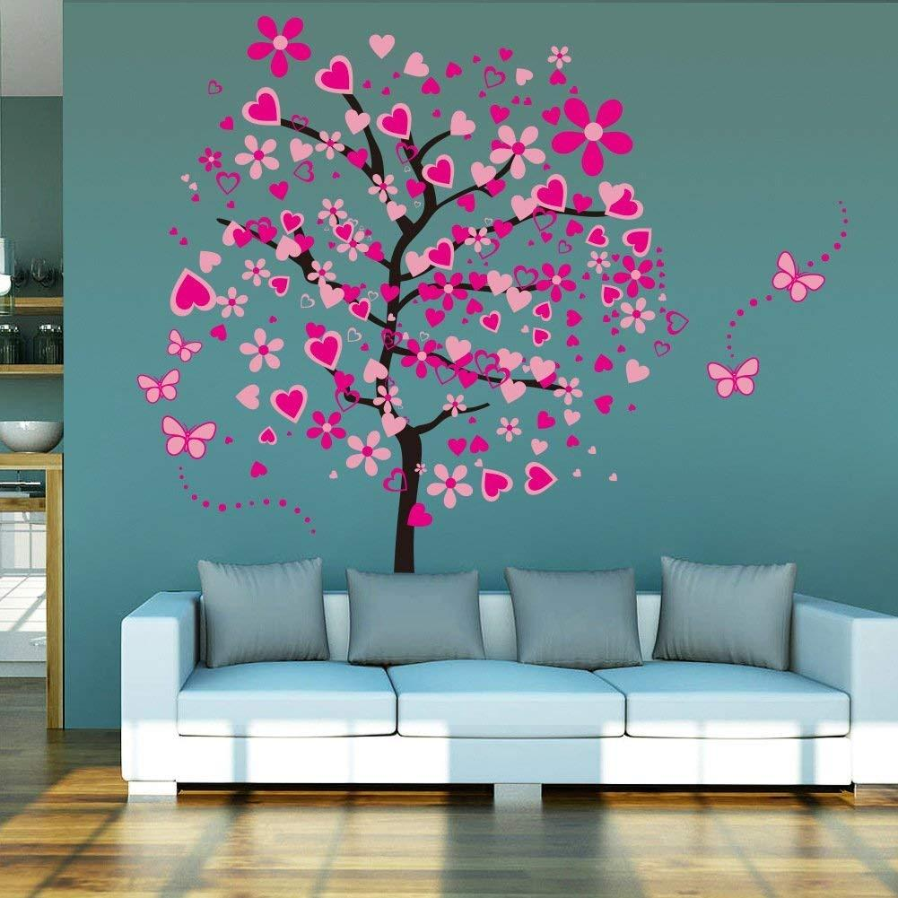 Heart Tree Butterfly Stickers Removable Wall Decor For Girls